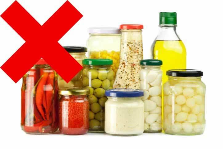 Evitar Alimentos em Conserva