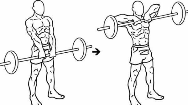 Exercício para ombros: remada com barra reta