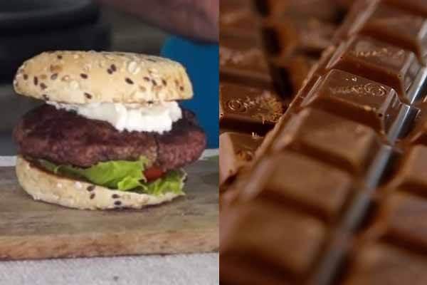 hambúrguer e chocolate amargo