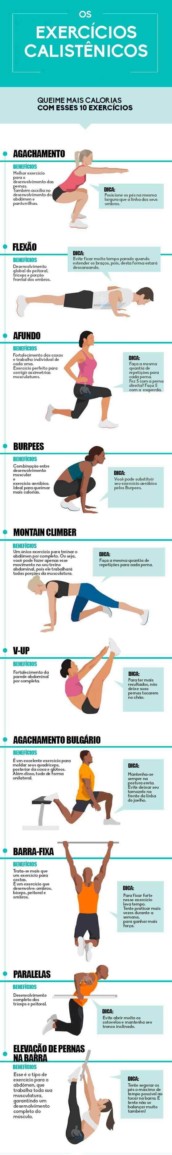 infográfico melhores exercícios calistenia