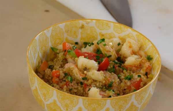 receita camarão com quinoa fitness