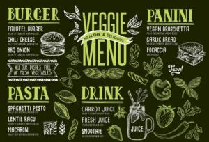 Obrázok vegetariánskeho menu na hromadný zisk (káva, obed a večera)
